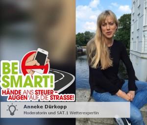 Kampagne BE SMART Anneke Dürkopp gegen Ablenkung am Steuer durch das Smartphone